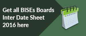 Inter Date Sheet 2016 Part 1, 2 All BISE Boards