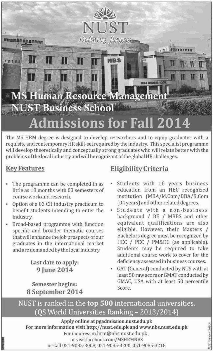 NUST begins fall admission 2014 in MS Human Resource Management