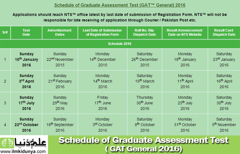 Schedule-of-Graduate-Assessment-Test-(-GAT-General-2016)