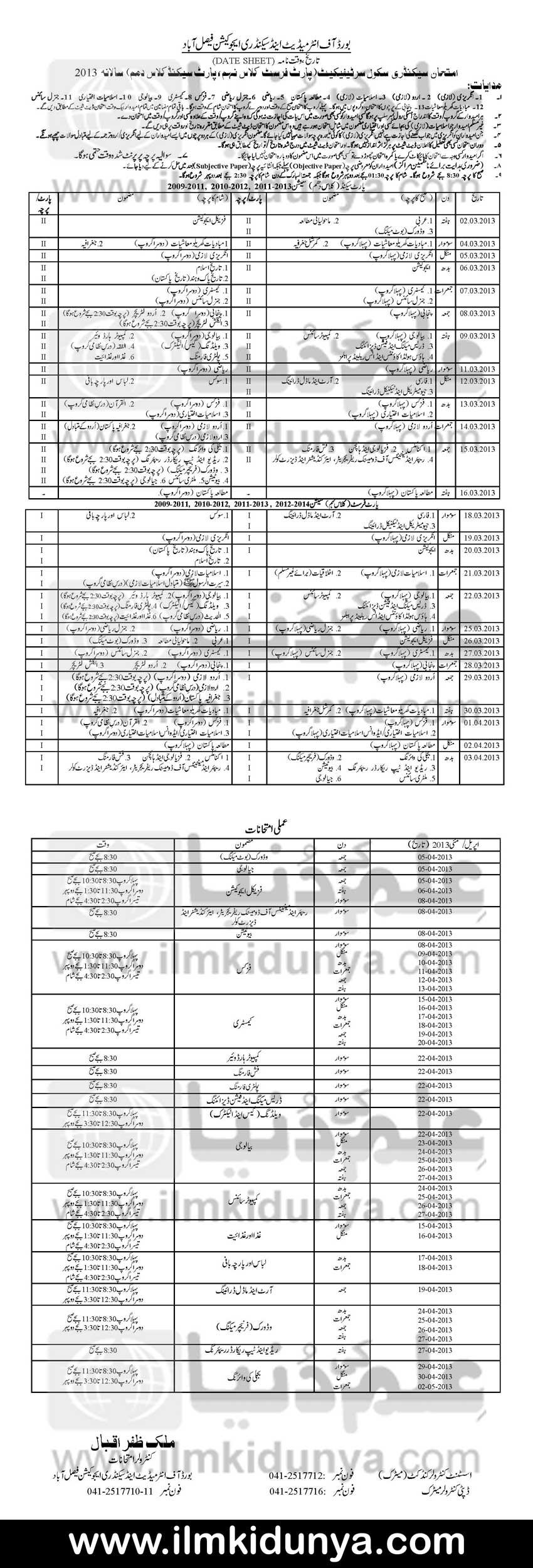 Bise Faisalabad Board Matric