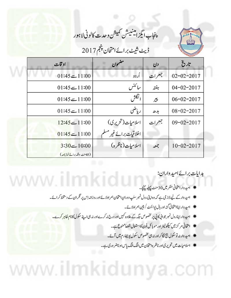 PEC 5th Class Date Sheet 2019 All Punjab Boards - 5th Class