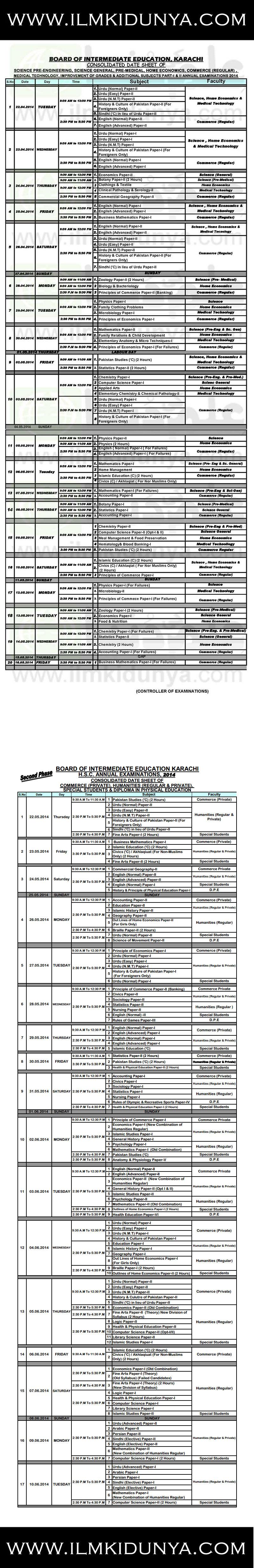 BIEK Karachi Board FA FSc Date Sheet 2019 Part 1, 2