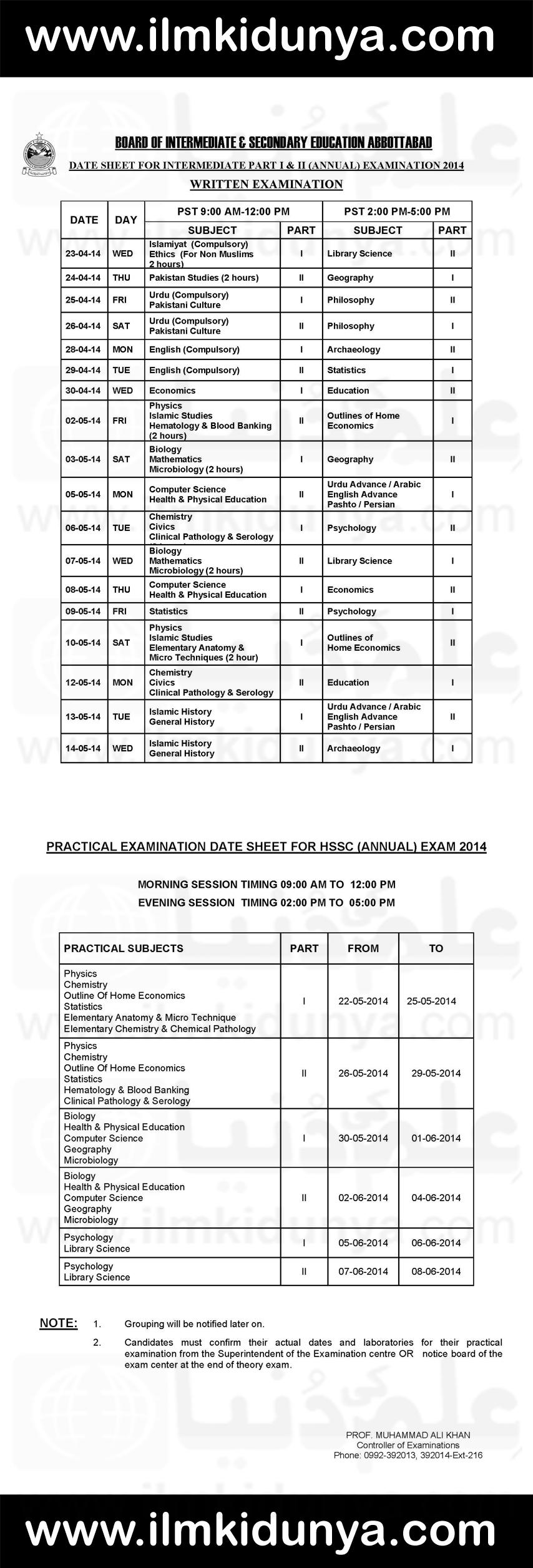 BISE Abbottabad Board FA FSc Date Sheet 2019 Part 1, 2