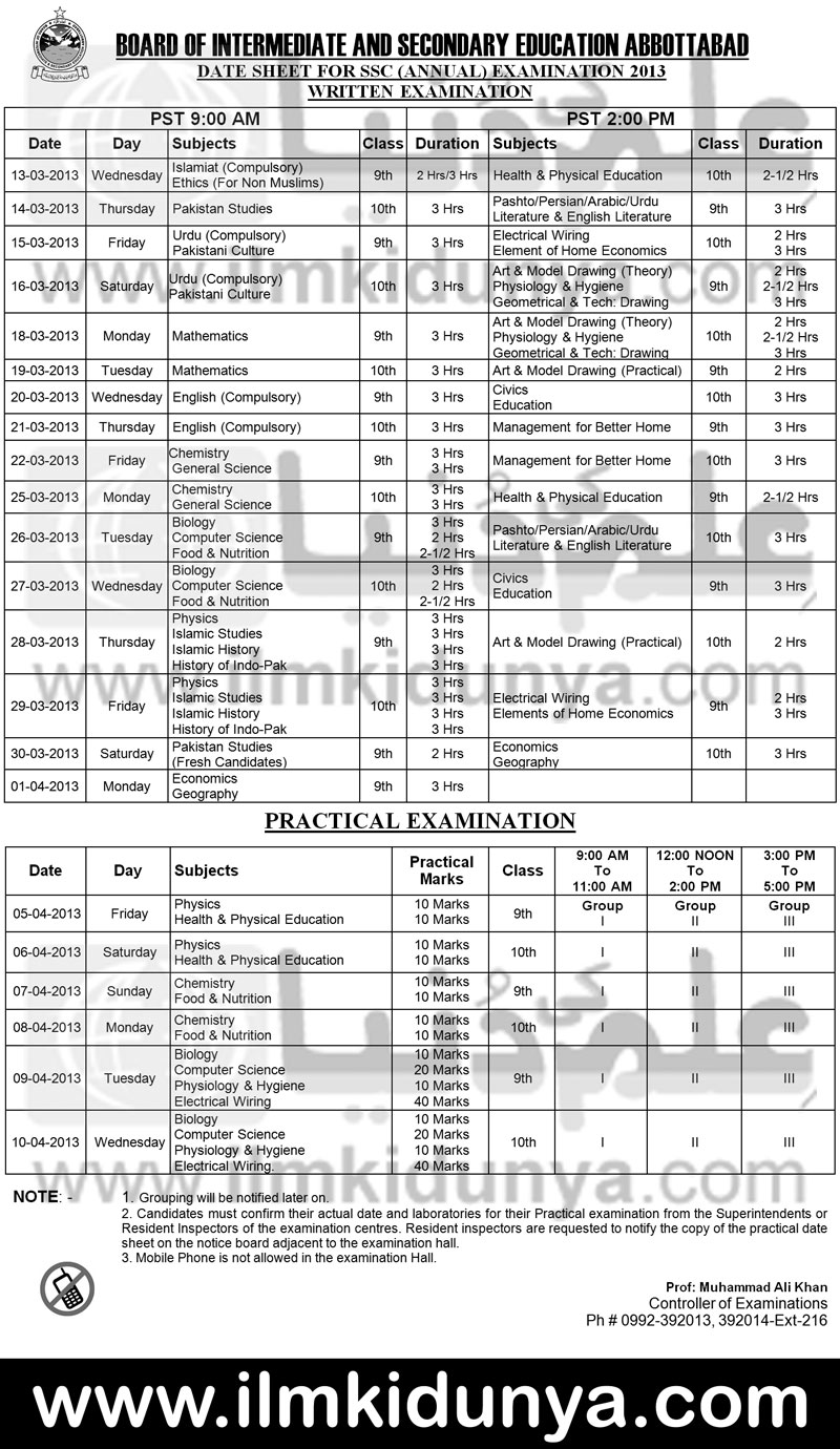 BISE Abbottabad Board Matric Date Sheets 2013 Announced Download Print Icon