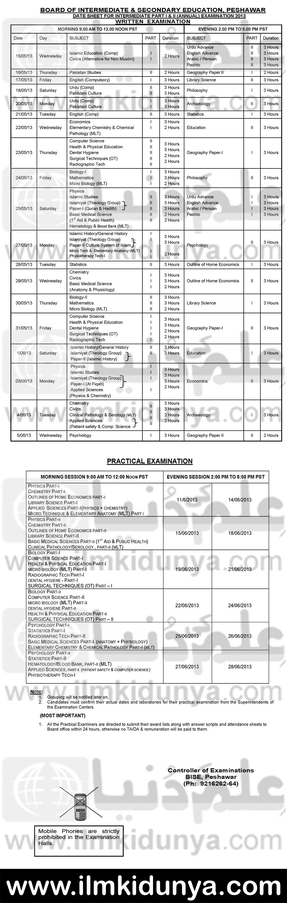 BISE Peshawar Board FA FSc Date Sheet 2019 Part 1, 2