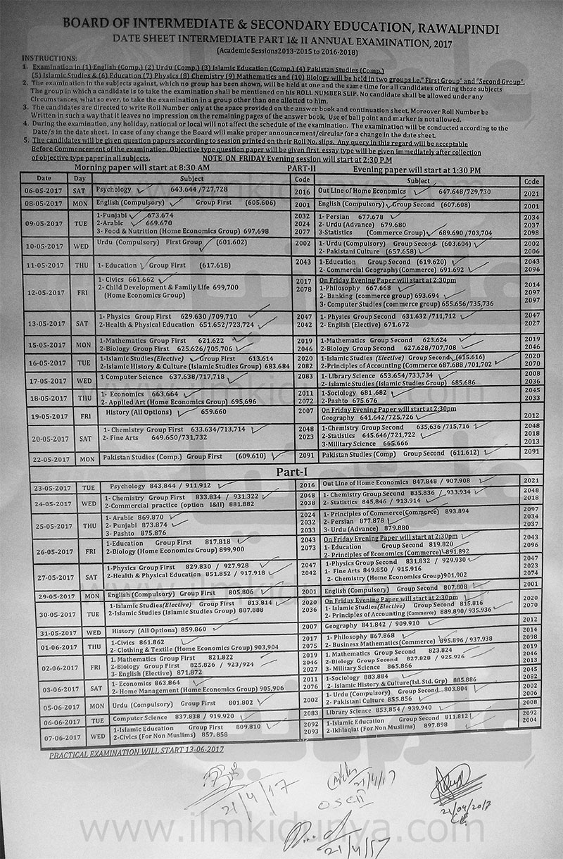 BISE Rawalpindi Board Inter Date Sheet 2019