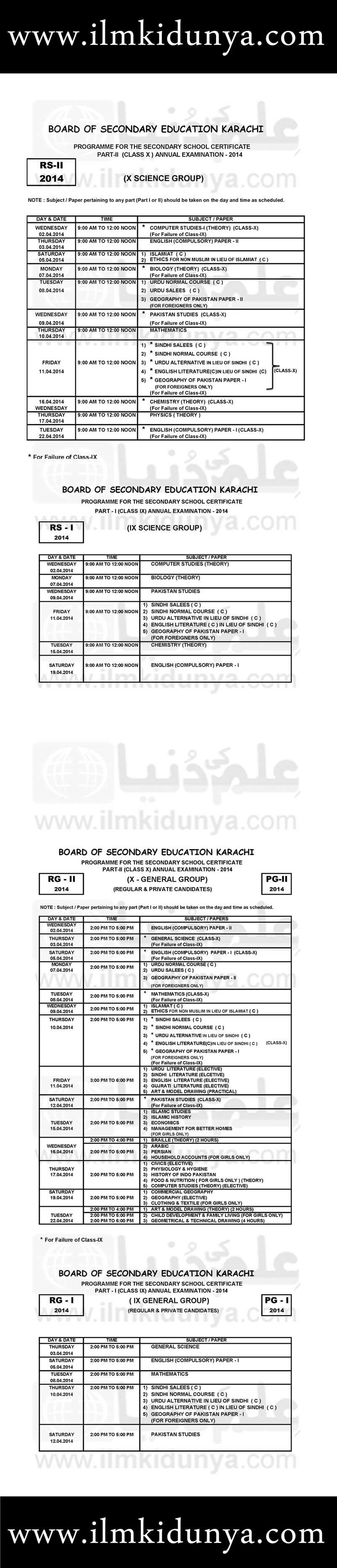 BSEK Karachi Board Matric Date Sheet 2019 Part 1, 2