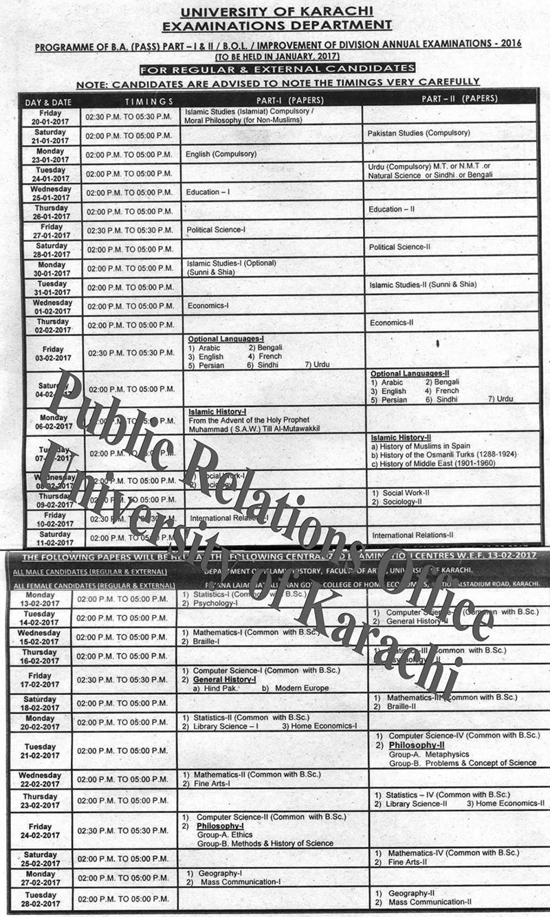 Karachi University BA Part 1 and 2 Date Sheet 2020