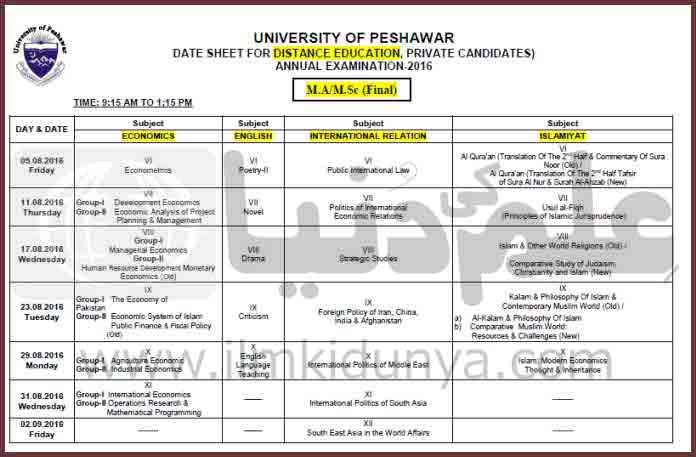 Peshawar University MA MSc Part 1 and 2 Date Sheet 2019