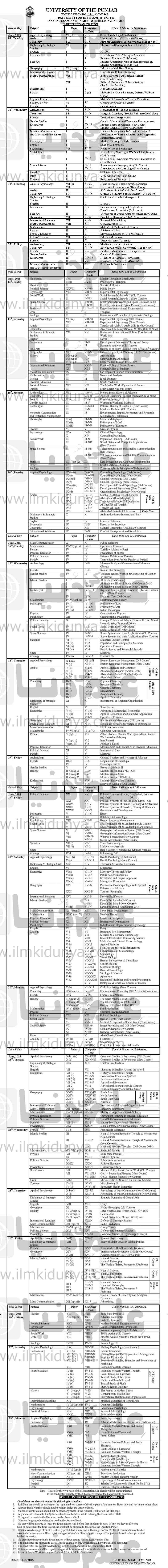 Punjab University PU Lahore MA MSc Date Sheet 2019 Part 1, 2