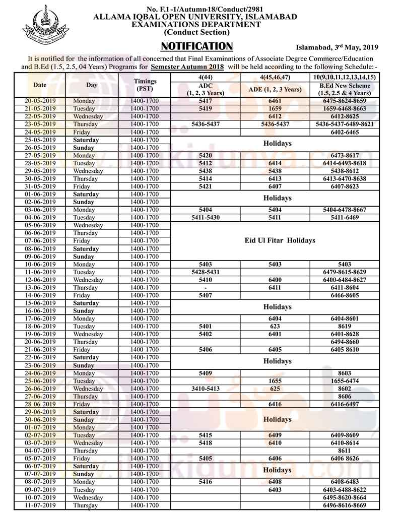 Allama Iqbal Open University AIOU BEd Date sheet 2019 – AIOU BEd
