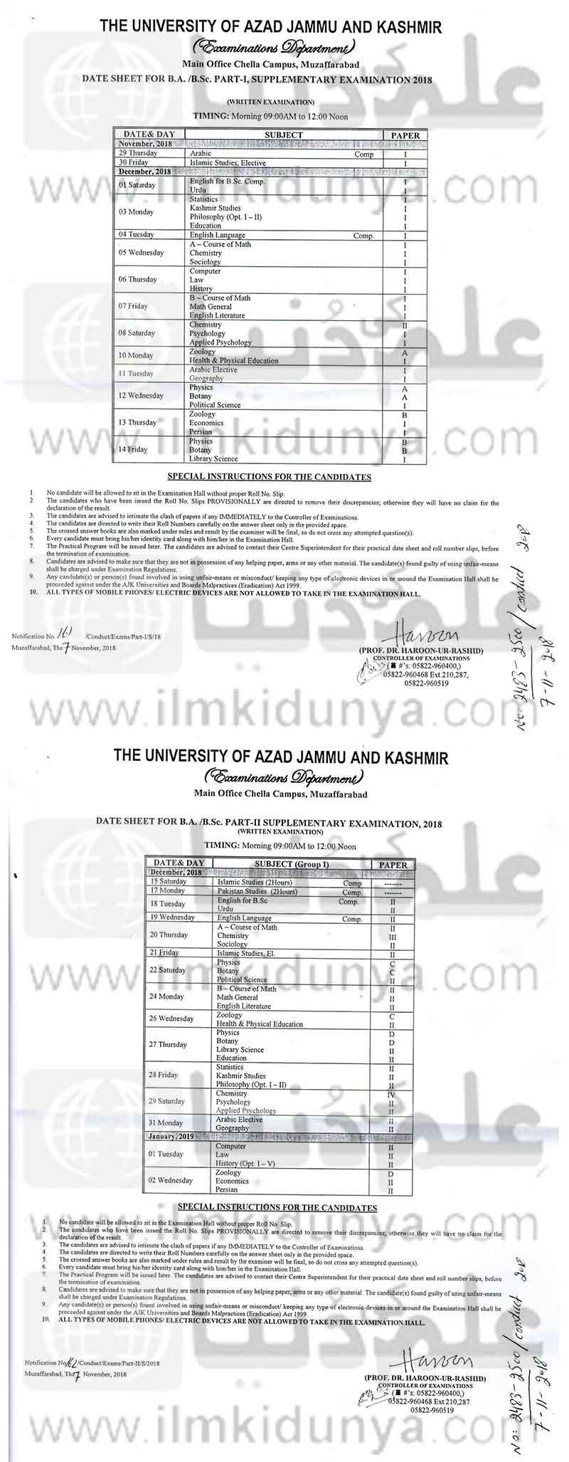 Recent Jammu and Kashmir contacts