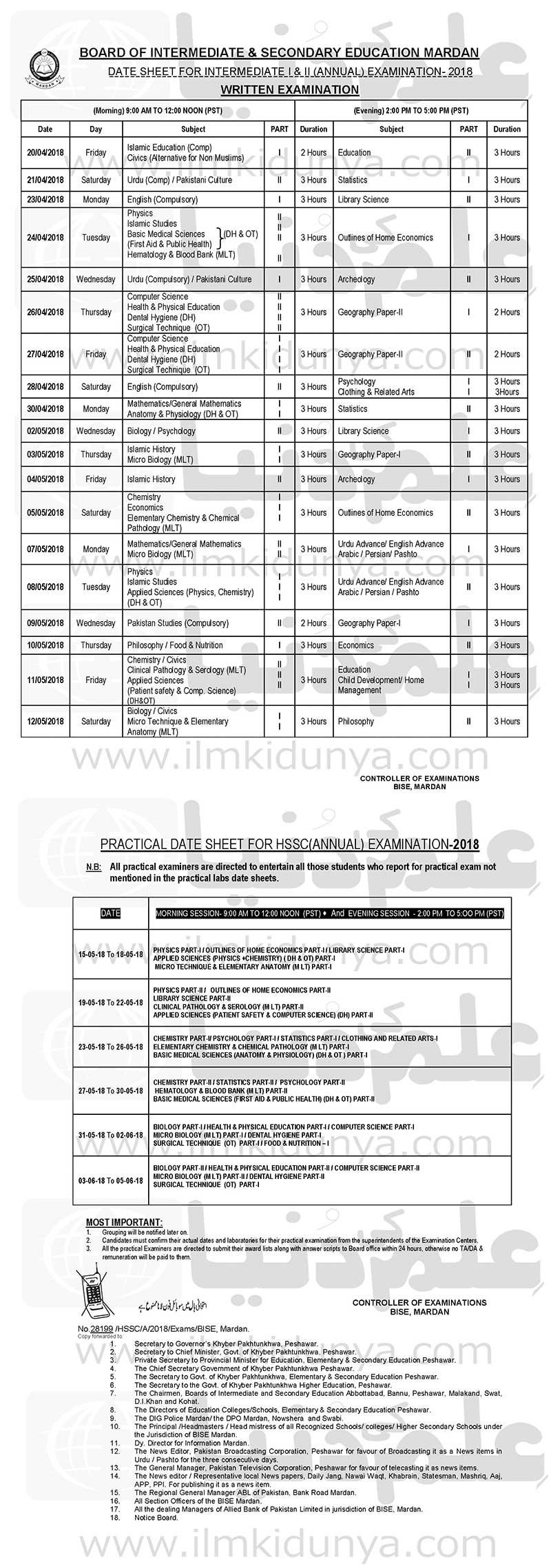 BISE Mardan Board FA FSc Date Sheet 2019 Part 1, 2