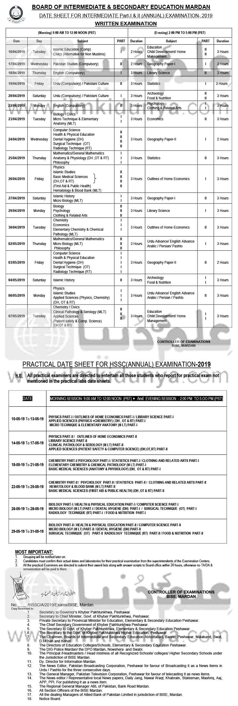 BISE Mardan Board FA FSc Date Sheet 2019 Part 1, 2