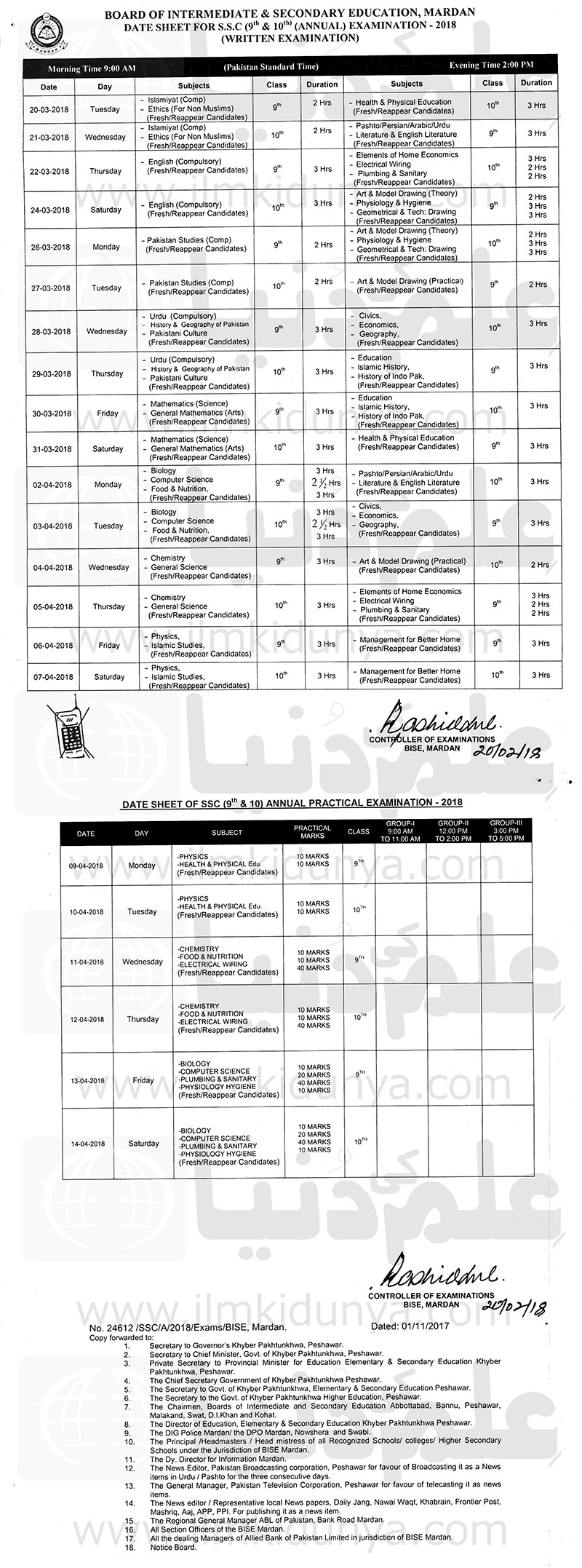 BISE Mardan Board 9th 10th Class Date Sheet 2019