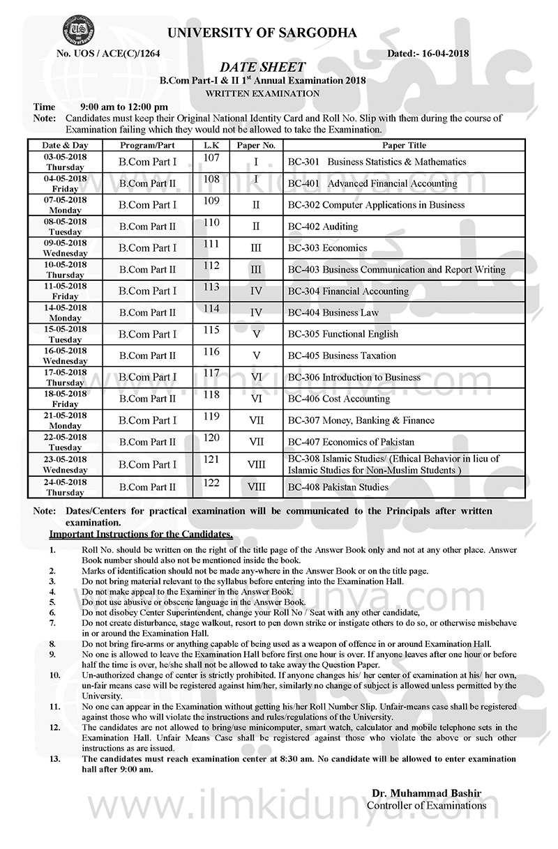 Sargodha University B Com Part 1 and 2 Date Sheet 2019